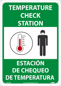 "Temperature Check Station Bilingual Safety Signs | M635AB | 14"" x 10"" 