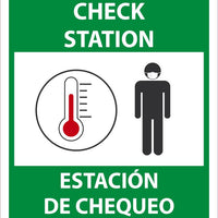 "Temperature Check Station Bilingual Safety Signs | M635PB | 14"" x 10"" 