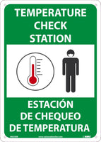 "Temperature Check Station Bilingual Safety Signs | M635RB | 14"" x 10"" 