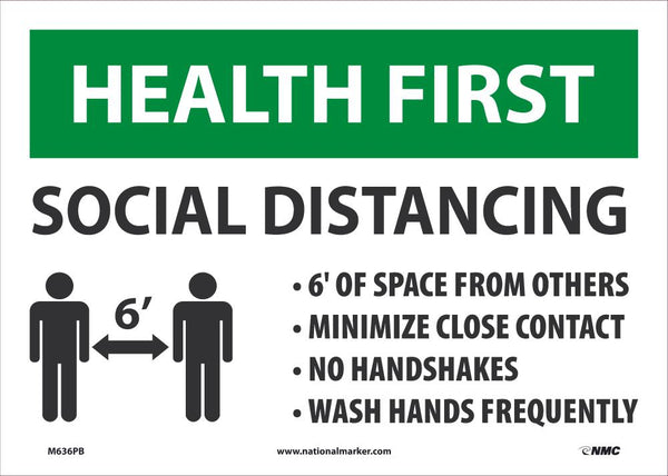 Health First Social Distancing Safety Signs | M636PB | 10