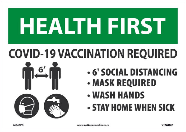 Health First Covid-19 Vaccination Required Safety Signs | M640PB | 10