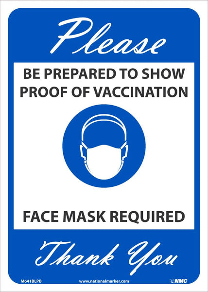 Proof Of Vaccination Required Face Mask Required Safety Signs | M641BLPB | 14