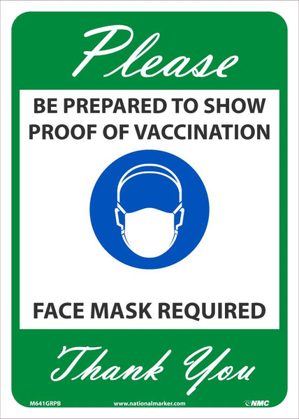 Proof Of Vaccination Required Face Mask Required Safety Signs | M641GRPB | 14