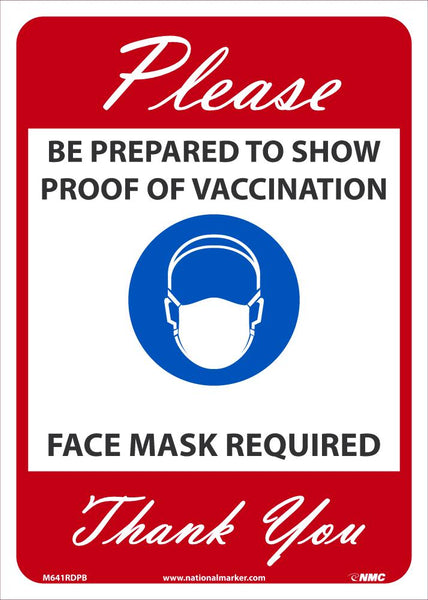 Proof Of Vaccination Required Face Mask Required Safety Signs | M641RDPB | 14