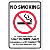 NO SMOKING (GRAPHIC) TO REPORT VIOLATIONS CALL 866-559-OHIO (6446) IN ACCORDANCE WITH CHAPTER 3794 OF THE OHIO REVISED CODE, 14X10, PS VINYL