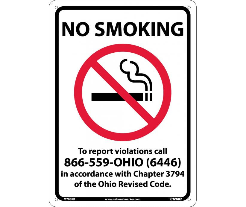 NO SMOKING (GRAPHIC) TO REPORT VIOLATIONS CALL 866-559-OHIO (6446) IN ACCORDANCE WITH CHAPTER 3794 OF THE OHIO REVISED CODE, 14X10, RIGID PLASTIC