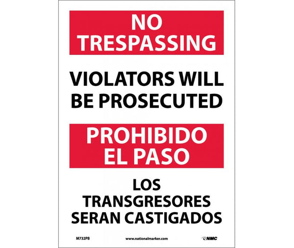 M732 National Marker Bilingual English and Spanish Signs No Trespassing Violators Will Be Prosecuted