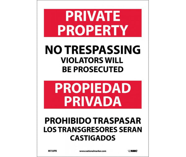 M733 National Marker Bilingual English and Spanish Signs Private Property No Trespassing Violators Will Be Prosecuted