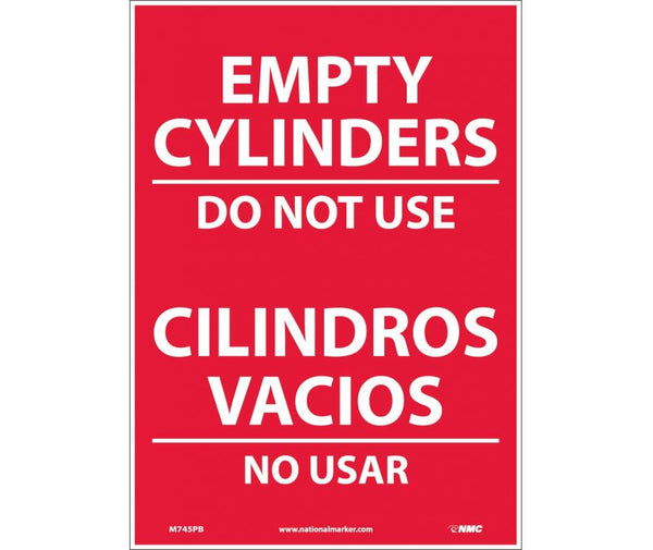 M745 National Marker Bilingual English and Spanish Signs Empty Cylinders Do Not Use