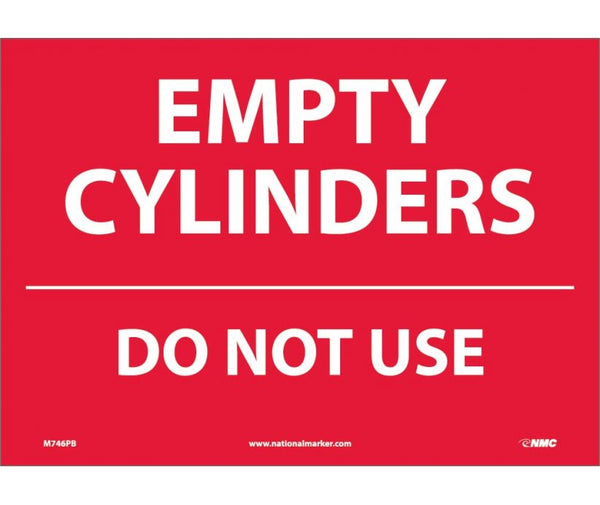M746 National Marker Chemical and Hazardous Material Safety Signs Empty Cylinders Do Not Use