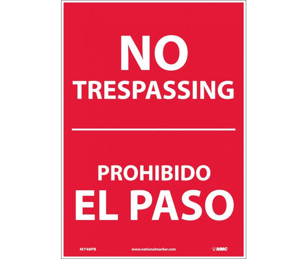 M748 National Marker Bilingual English and Spanish Signs No Trespassing