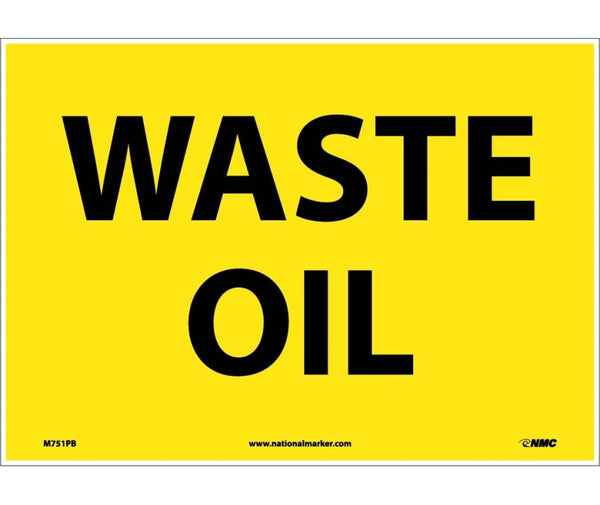 M751 National Marker Chemical and Hazardous Material Safety Signs Waste Oil