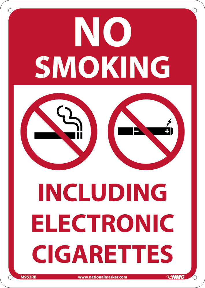 NO SMOKING, INCLUDING ELECTRONIC CIGARETTES, 14X10, PRESSURE RIGID PLSTIC