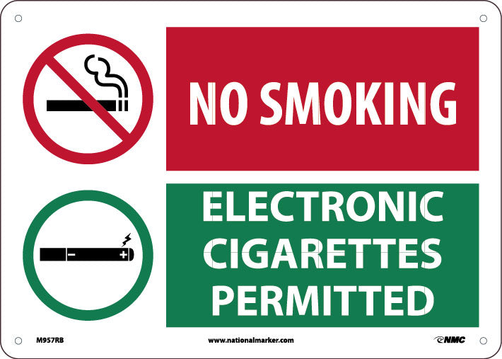 NO SMOKING, GRAPHIC SLASH, ELECTRONIC CIGARETTES PERMITTED, GRAPHIC SLASH 10X14,  RIDIG PLASTIC
