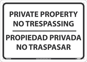 SIGN, BILINGUAL, 10 X 14 RIGID PLASTIC .050, PRIVATE PROPERTY NO TRESPASSING