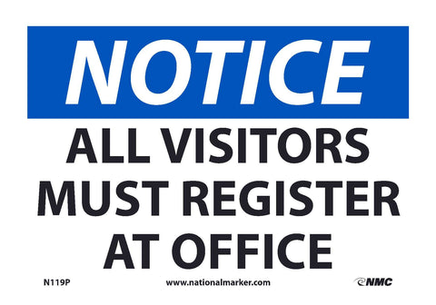 "N119P National Marker All Visitors Must Register At Office Notice Header Sign 7"" x 10"".004 Adhesive Backed Vinyl"
