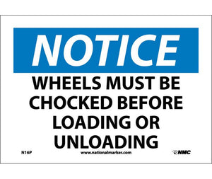 NOTICE, WHEELS MUST BE CHOCKED BEFORE LOADING OR UNLOADING, 7X10, PS VINYL