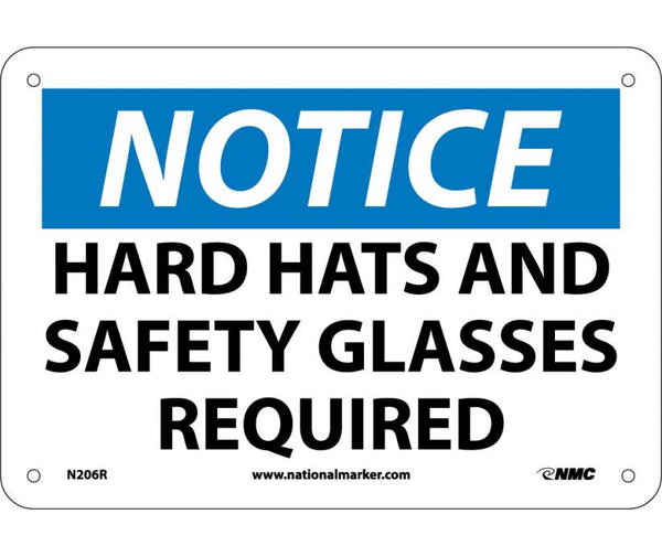 N206 National Marker Personal Protection Safety SIgns Notice Hard Hats And Safety Glasses Required