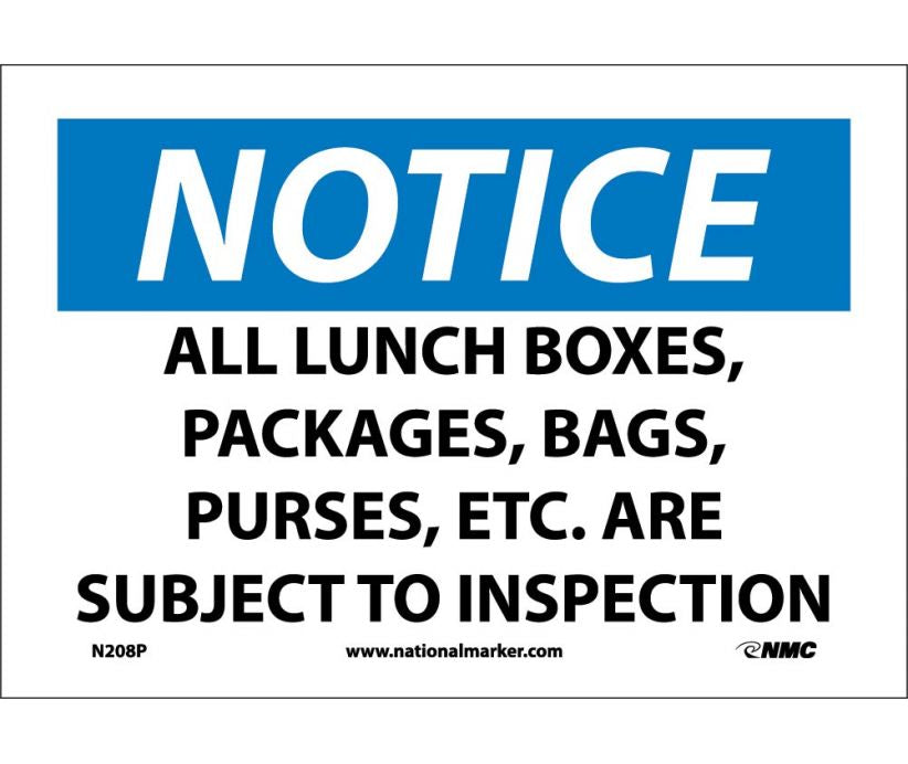 "N208P National Marker All Lunch Boxes, Packages, Bags, Purses, Etc. Are Subject To Inspection Notice Header Sign 7"" x 10"".004 Adhesive Backed Vinyl"