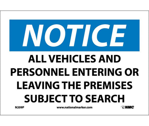 "N209P National Marker Do Not Enter Authorized Personnel Only Entering Or Leaving The Premises Subject To Search Notice Header Sign 7"" x 10"".004 Adhesive Backed Vinyl"