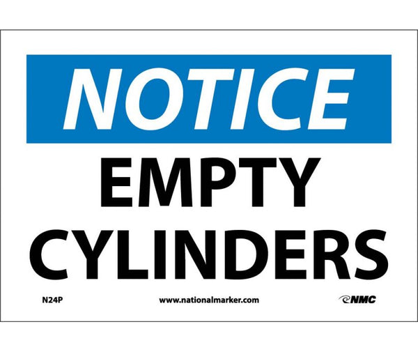 N24 National Marker Chemical and Hazardous Material Safety Signs Notice Empty Cylinders