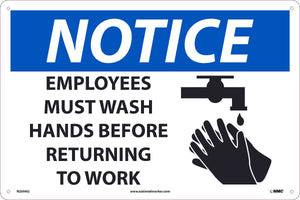 NOTICE, EMPLOYEES MUST WASH HANDS BEFORE RETURNING TO WORK, 12x18, .040 ALUM