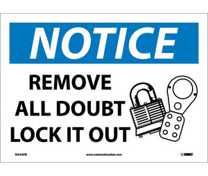 NOTICE, REMOVE ALL DOUBT LOCK IT OUT, GRAPHIC, 10X14, PS VINYL