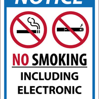 NOTICE NO SMOKING INCLUDING ELECTRONIC CIGARETTES,14X10, .050 RIGID PLASTIC