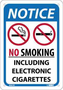 NOTICE NO SMOKING INCLUDING ELECTRONIC CIGARETTES, 10X7, .050 RIGID PLASTIC