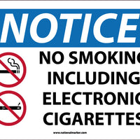 NOTICE, NO SMOKING, INCLUDING ELECTRONIC CIGARETTES, 10X14, ALUMINUM .040