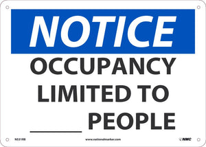 "Occupancy Limited To XXXX People Safety Signs | N531RB | 10"" x 14"" 