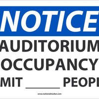 "Auditorium Occupancy Limit XXXX People Safety Signs | N533PB | 10"" x 14"" 