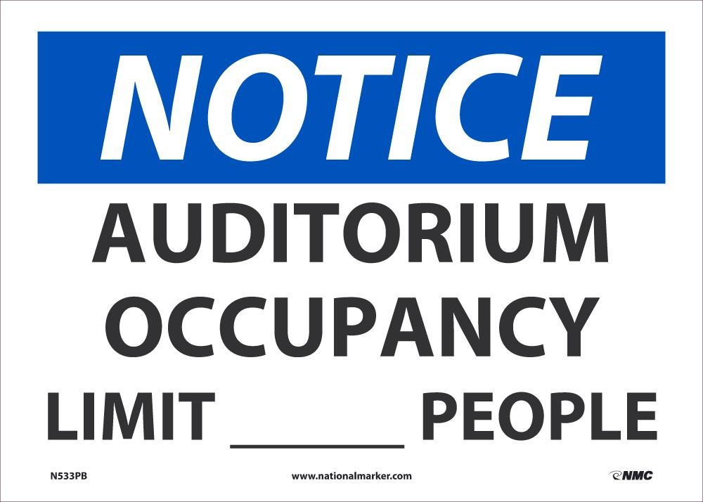 Auditorium Occupancy Limit XXXX People Safety Signs | N533PB | 10