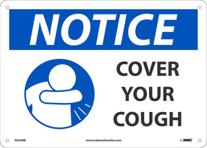 "Notice Cover Your Cough Safety Signs | N535RB | 10"" x 14"" 