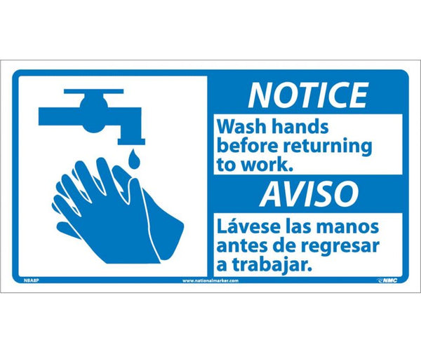 NBA8 National Marker Bilingual English and Spanish Signs Notice Wash Hands Before Returing To Work