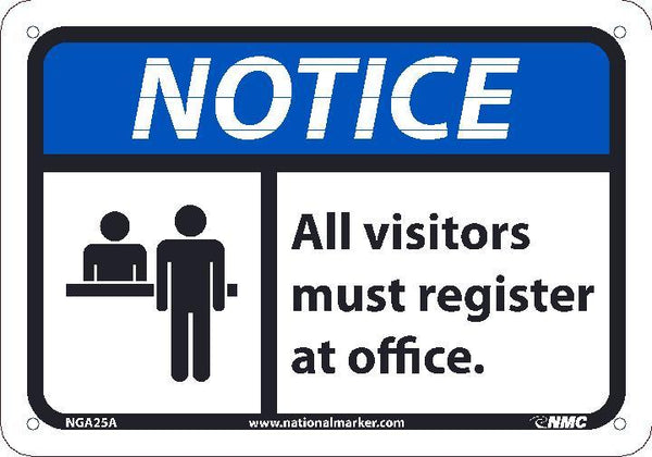 NGA25 National Marker Notice Header All Visitors Must Register At Office