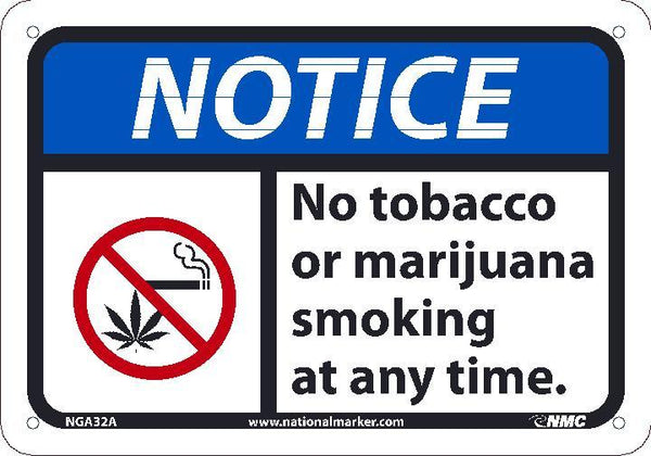 NGA32 National Marker Notice Header No Tobacco Or Marijuana Smoking At Any Time