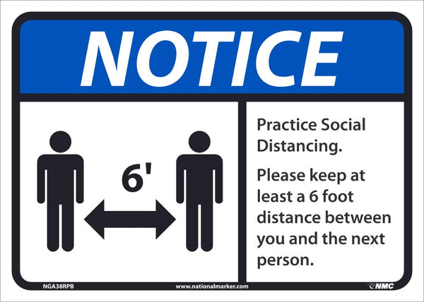 Notice Practice Social Distancing Safety Signs | NGA38PB | 10