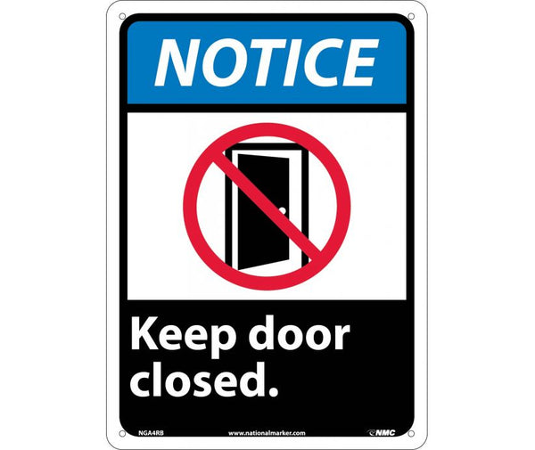 "NGA4RB National Marker Keep Door Closed Notice Header Sign 14"" x 10"" .050 Rigid Plastic"
