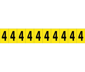 "NUMBER CARD, 1"" 4 (10 NUMBERS/CARD), PS CLOTH"