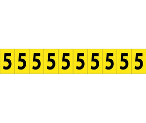 "NUMBER CARD, 1"" 5 (10 NUMBERS/CARD), PS CLOTH"