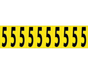 "NUMBER CARD, 2"" 5 (10 NUMBERS/CARD), PS CLOTH"