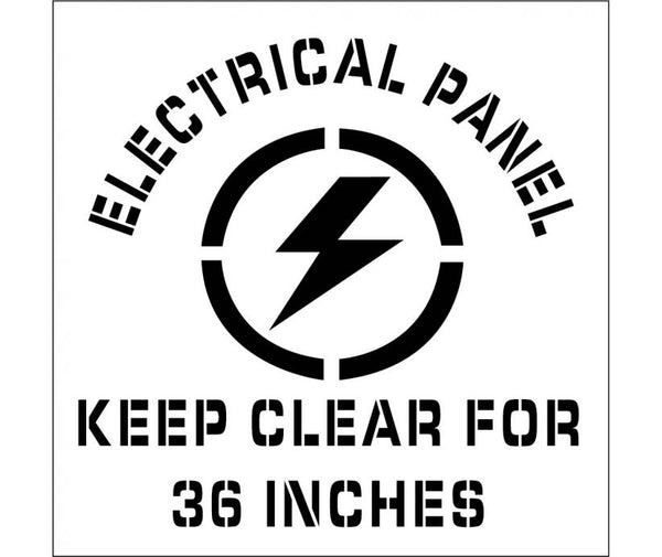 STENCIL, ELECTRICAL PANEL KEEP CLEAR FOR 36 INCHES, GRAPHIC 24X24, .060 PLASTIC