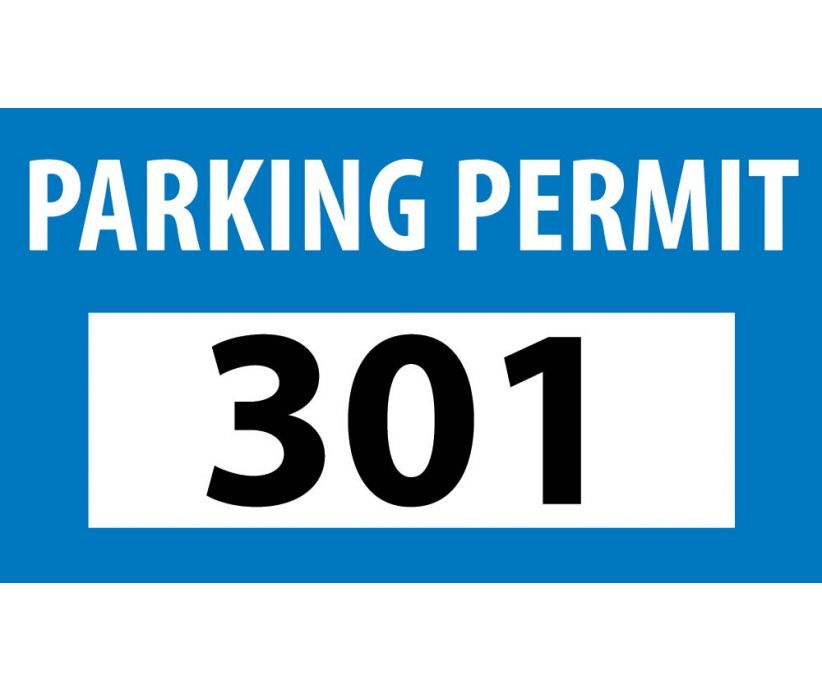 PARKING PERMIT, BUMPER, BLUE, 301-400