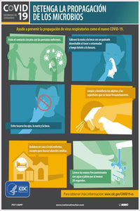 "Covid-19 Stop The Spread Of Germs Spanish Safety Posters | PST140PP | 18"" x 12"" 