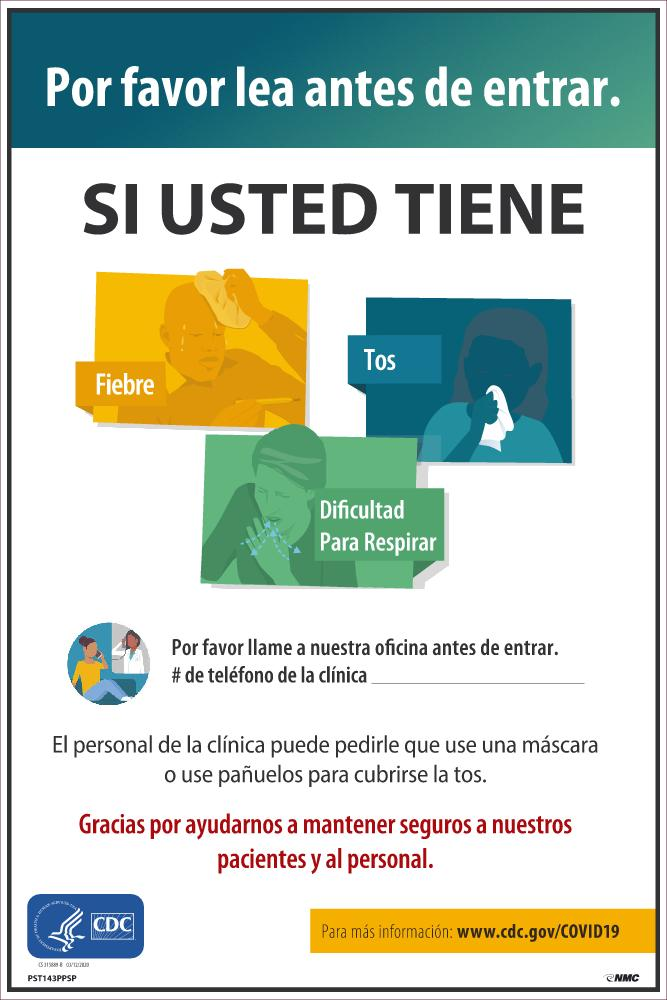 Please Read Before Entering If You Have Fever Cough Shortness Of Breath Spanish Safety Posters | PST143PPSP | 18