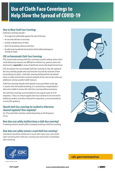 Use Of Cloth Face Coverings To Help Slow The Spread Of Covid-19 Safety Posters | PST144PP | 18