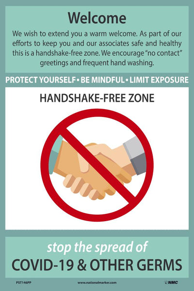 Welcome Handshake Free Zone Safety Posters | PST146PP | 18