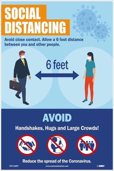 Social Distancing 6 Feet Safety Posters | PST150PP | 18