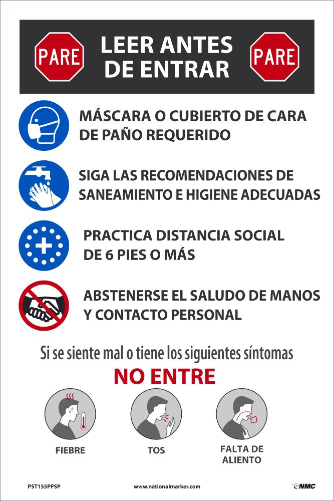 Stop Read Before Entering Spanish Safety Posters | PST155PPSP | 18